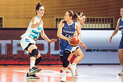 Eva Lisec of Slovenia vs Nikola Dudasova of Slovakia during Women's Basketball - Slovenia vs Slovaska on the 14th of June 2019, Dvorana Poden, Skofja Loka, Slovenia. Photo by Matic Ritonja / Sportida