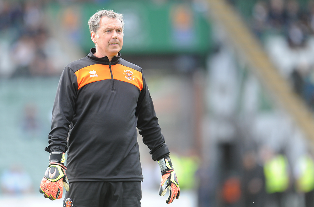 Blackpool Goalkeeper Coach Dave Timmins during the pre-match warm-up <br /> <br /> Photographer Kevin Barnes/CameraSport<br /> <br /> The EFL Sky Bet League One - Plymouth Argyle v Blackpool - Saturday 15th September 2018 - Home Park - Plymouth<br /> <br /> World Copyright © 2018 CameraSport. All rights reserved. 43 Linden Ave. Countesthorpe. Leicester. England. LE8 5PG - Tel: +44 (0) 116 277 4147 - admin@camerasport.com - www.camerasport.com