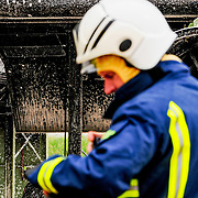 Fire fighter during training exercise.