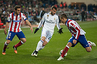 Atletico de Madrid's Koke and Lucas and Real Madrid's Jese Rodriguez during 2014-15 Spanish King Cup match at Vicente Calderon stadium in Madrid, Spain. January 07, 2015. (ALTERPHOTOS/Luis Fernandez)