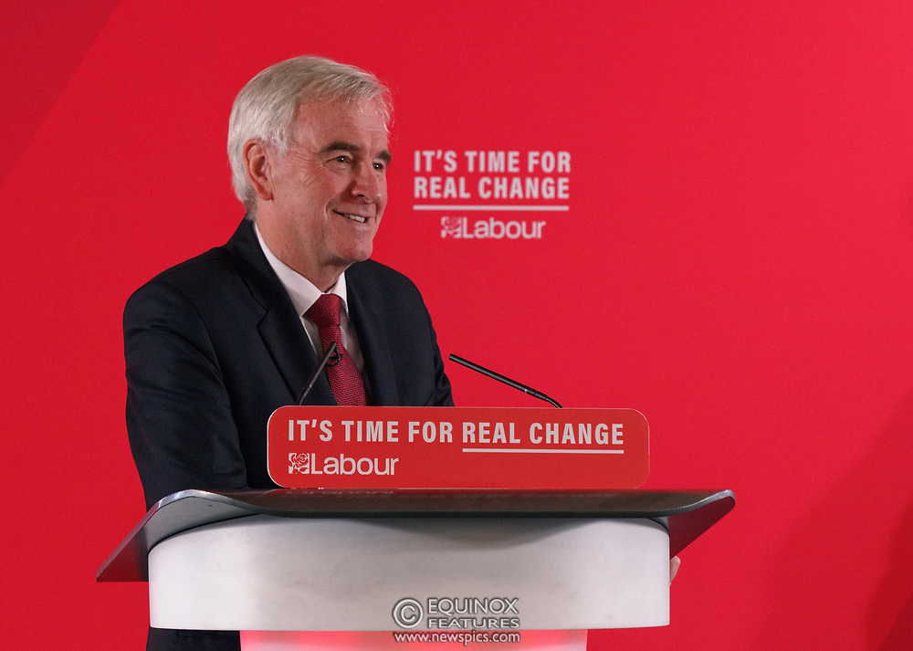 London, United Kingdom - 9 December 2019<br /> John McDonnell gives an economics speech in the run up to the general election 2019, on behalf of the Labour Party at Coin Street Community Builders, London, England, UK.<br /> (photo by: EQUINOXFEATURES.COM)<br /> Picture Data:<br /> Photographer: Equinox Features<br /> Copyright: ©2019 Equinox Licensing Ltd. +443700 780000<br /> Contact: Equinox Features<br /> Date Taken: 20191209<br /> Time Taken: 11474000<br /> www.newspics.com
