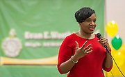 Houston ISD trustee Wanda Adams comments during a beam signing ceremony at Worthing High School, December 11, 2014.