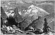 Mount Shasta, northern peak of the Sierra Nevada, California, USA. Wood engraving c1870