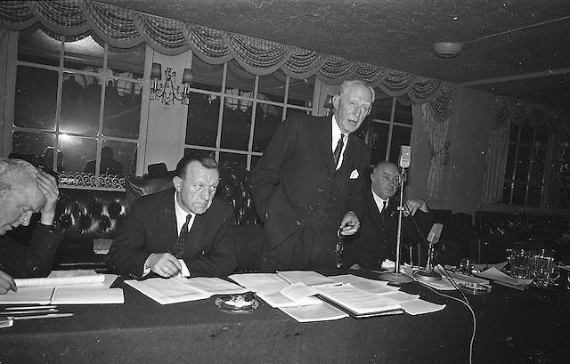 General Secretary of the GAA Association, Padraig O'Caoimh, (centre) speaking at the Annual GAA Congress at the Gresham hotel; also in the picture are President, Mr Hugh A Broin, (right) and Assistant Secretary Sean O'Siochain, 14th April 1963