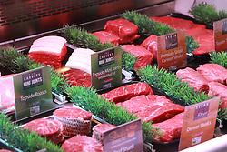 Cuts of beef on display in supermarket UK