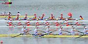 Chungju, South Korea.  Final Women's Eights, ITA W8+2013 FISA World Rowing Championships, Tangeum Lake International Regatta Course.15:54:12  Sunday  01/09/2013 [Mandatory Credit. Peter Spurrier/Intersport Images]<br /> <br /> 1USA W8+. Bow. Amanda POLK (b) , Kerry SIMMONDS (2) , Emily REGAN (3) , Lauren SCHMETTERLING (4) , Grace LUCZAK (5) , Meghan MUSNICKI (6) , Victoria OPITZ (7) , Caroline LIND (s) , Katelin SNYDER<br /> <br /> 2ROU W8+. Bow. Cristina ILIE (b) , Ionelia ZAHARIA (2) , Cristina GRIGORAS (3) , Ioana CRACIUN (4) , Camelia LUPASCU (5) , Andreea BOGHIAN (6) , Roxana COGIANU (7) , Nicoleta ALBU (s) , Daniela DRUNCEA.<br /> <br /> 3CANW8+. Bow. Lisa ROMAN (b) , Jennifer MARTINS (2) , Carolyn GANES (3) , Susanne GRAINGER (4) , Sarah BLACK (5) , Christine ROPER (6) , Natalie MASTRACCI (7) , Cristy NURSE (s) , Kristen KIT.<br /> <br /> 4.     GBRW8+. Melanie WILSON (b) , Caragh MCMURTRY (2) , Louisa REEVE (3) , Beth RODFORD (4) , Jessica EDDIE (5) , Zoe LEE (6) , Katie GREVES (7) , Olivia CARNEGIE-BROWN (s) , Zoe DE TOLEDO. <br /> <br /> 5AUSW8+. Bow. Hannah VERMEERSCH (b) , Renee CHATTERTON (2) , Peta WHITE (3) , Katrina BATEMAN (4) , Tess GERRAND (5) , Alexandra HAGAN (6) , Charlotte SUTHERLAND (7) , Lucy STEPHAN (s) , Elizabeth PATRICK.<br /> <br /> 6NED W8+. Bow. Marleen VERBURGH (b) , Kyra DE VRIES (2) , Aletta JORRITSMA (3) , Janneke VAN DER MEULEN (4) , Kirsten WIELAARD (5) , Dominique Van der PAUW (6) , Rosa BAS (7) , Heleen BOERS (s) , Jonna DE VRIES (c)