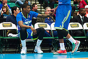 Ricky Ledo (7) of the Texas Legends gives Ivan Johnson (44) a high-five against the Los Angeles D-Fenders on Friday, January 9, 2015 at the Dr. Pepper Arena in Frisco, Texas. (Cooper Neill/Special Contributor)