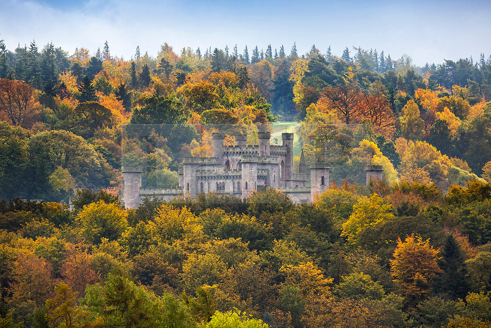 © Licensed to London News Pictures. 20/10/2020. Askham UK. The ruins of Lowther Castle near Askham are surrounded by Autumnal colour this morning in Cumbria. The building is a castellated mansion which was built by Robert Smirke for William Lowther, 1st Earl of Lonsdale between 1806 and 1814. Photo credit: Andrew McCaren/LNP