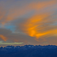 The sun sets over the Palisade region of the eastern Sierra Nevada, above the Owens Valley, California.