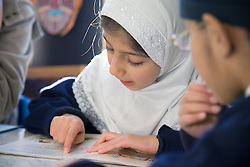 Pupils in a lesson at the Nottingham Islamia school,