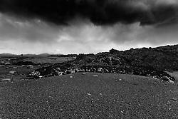 Men walking near the hot lava and the toxic gas from the hot lava. Volcano eruption at Holuhraun highlands of Iceland -  - Eldgos við Holuhraun, menn ganga við nýrunnið heitt hraunið
