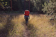 Hiker off for the morning hike in the Sycamore wilderness, Northern Arizona