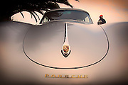 Car-advertising-photographer-randy-wells-automotive-videographer-cinematographer-location-and-studio-specialist, Image of a 1958 silver Porsche 356 Cabriolet with a hardtop in Costa Mesa, Orange County, California