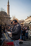 Kayserians gather at the Ulu Camii mosque in Kayseri's old city before Friday prayers. The industrial city is located in central Anatolia, Turkey.