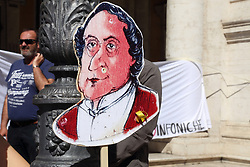 May 4, 2017 - Roma, Italy - Demonstration at the Piazza del Campidoglio in Rome organized by the workers of the national committee of symphonic lyric foundations, including Teatro dell'Opera di Roma Foundation, to protest against Law 160, art. 24 with which the government manages the funding for theaters and the production system of the live lyrical performance. (Credit Image: © Matteo Nardone/Pacific Press via ZUMA Wire)