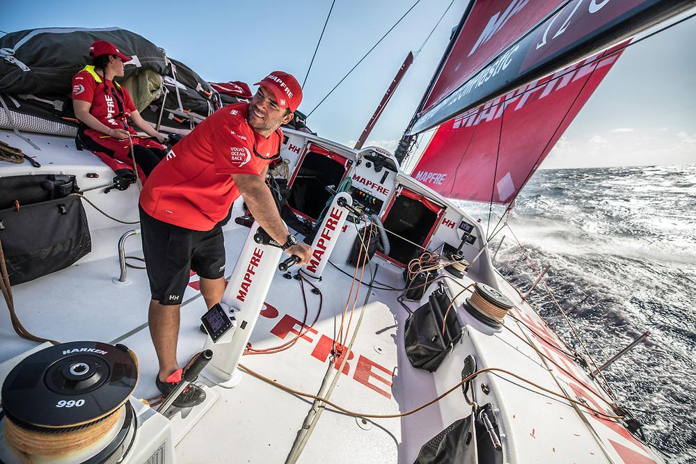 Leg 02, Lisbon to Cape Town, day 08, on board MAPFRE, Pablo aArrarte en uno de los coffe. Photo by Ugo Fonolla/Volvo Ocean Race. 12 November, 2017