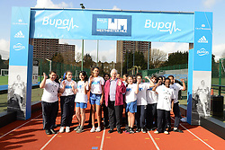 © London News Pictures. 26/02/2014. London, UK. DIANNE CHARLES (formerly Dianne Leather) the first woman to run a sub-five minute mile, at Paddington Recreation ground in London to launch the 2014 Bupa Westminster Mile in May 2014, which will officially celebrate the 60th anniversary. The track at Paddington Recreation ground was where Sir Roger Bannister trained for the record attempt. Photo credit: Mike King/LNP