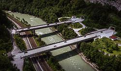 THEMENBILD - Verkehr auf den beiden Autobahnbrücken zwischen dem Ofenauertunnel dem Hieflertunnel auf der A10 Tauernautobahn, aufgenommen am 27. Juli 2019 bei Pass Lueg, Österreich // Traffic on the two motorway bridges between the Ofenauertunnel and the Hieflertunnel at the A10 Tauernautobahn, Pass Lueg, Austria on 2019/07/27. EXPA Pictures © 2019, PhotoCredit: EXPA/ JFK