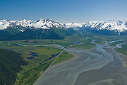 Alaska. Turnagain Arm and the Seward HIghway as it stretches South towards Portage Valley and the Chugach National Forest.