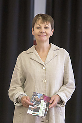 June 2, 2017 - YORKSHIRE, ENGLAND - SHEFFIELD   , UK.  .The Green Party at the  Broomhall Centre in Sheffield today (Friday 2nd June 2017) for their general election campaign. The party's co-leader Caroline Lucas (pictured)  and former leader, Natalie Bennett spoke defending migrants' contribution to Britain and pledge their support for continued free movement within Europe. Caroline Lucas spoke yesterday to condemn Donald Trump's decision to pull out of the Paris climate agreement. (Credit Image: © Chris Bull/London News Pictures via ZUMA Wire)