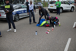 Hayley Jones (GBR) Of Team WNT lay on the ground after her crash during the Omloop van Borsele - a 107.1 km road race, starting and finishing in s'-Heerenhoek on April 22, 2017, in Borsele, the Netherlands.