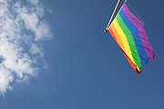 Rainbow flag of the Pride movement in London, United Kingdom. The rainbow flag, commonly the gay pride flag and sometimes the LGBT pride flag, is a symbol of lesbian, gay, bisexual, and transgender LGBT pride and LGBT social movements. It has been in use since the 1970s.