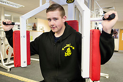 Joe Law of Hellaby South Yorkshire, who has lost 15 stone, works out at Ziggy's Workhouse Gym, Masbrough, Rotherham<br /> 24 January 2016<br />  Copyright Paul David Drabble<br />  www.pauldaviddrabble.co.uk