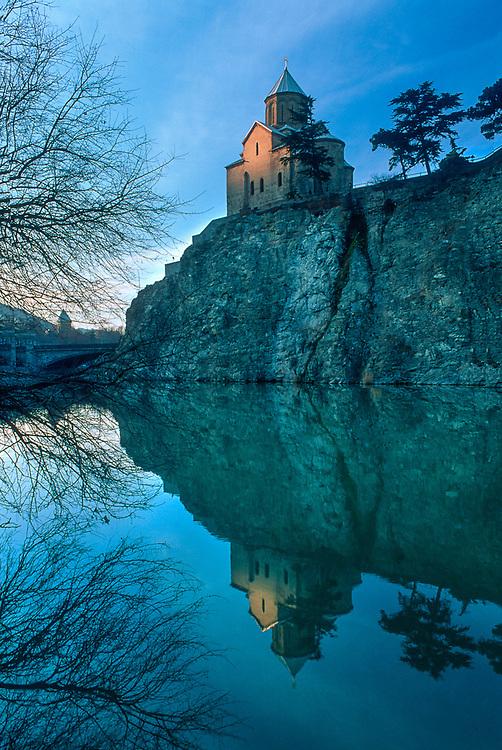Metekhi Church reflection onto the Mtkvari River, Tbilisi, The Country of Georgia