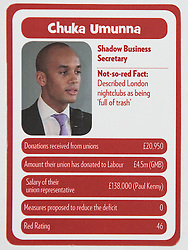 "© Licensed to London News Pictures . 29/09/2013 . Manchester , UK . Chuka Umunna . "" Top Trumped by the Unions "" cards handed out at the Conservative Party Conference . The Conservative Party Conference at Manchester Central . Photo credit : Joel Goodman/LNP **FULL PACK OF 40 TRUMP CARDS AVAILABLE ON REQUEST**"