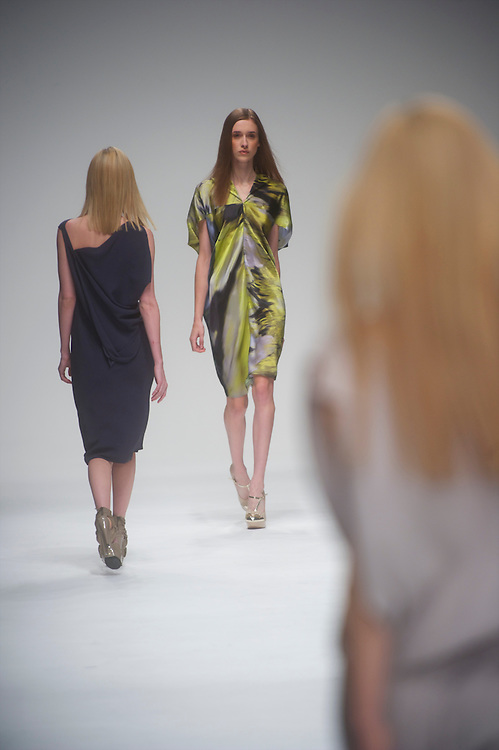 Models exhibit the Maria Grachvogel spring 2011 collection down the catwalk at Somerset House in London on 17 September 2010.