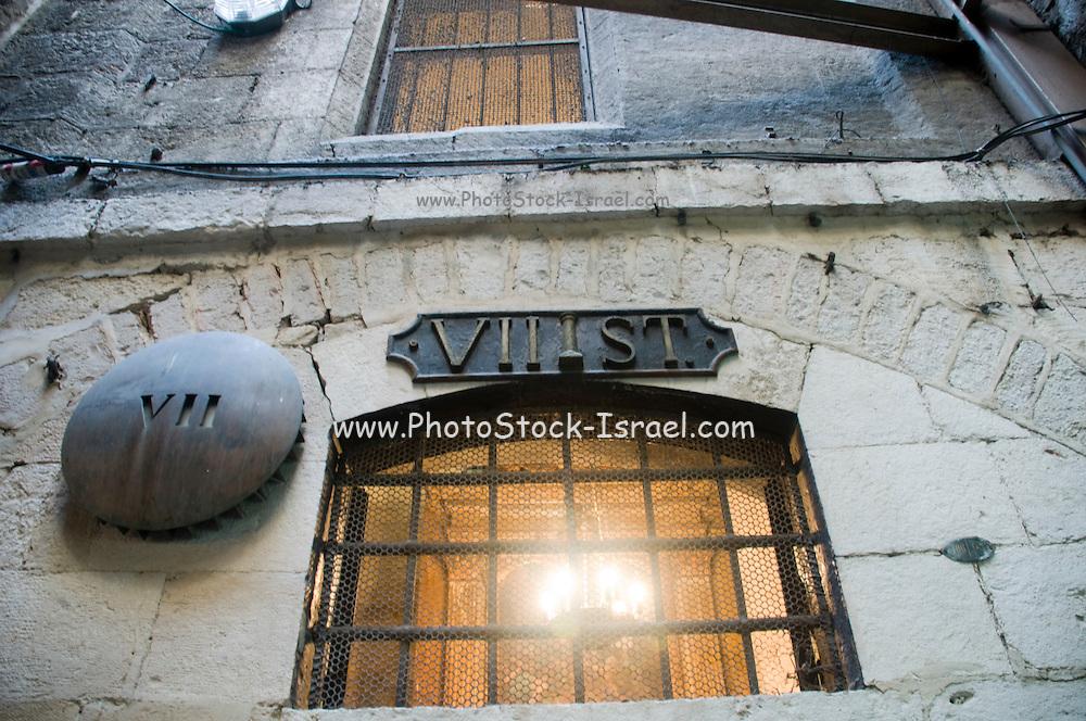 Israel, Jerusalem Old City, 7th Station of Via Dolorosa Jesus falls the second time