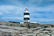 Traditional  black and white lighthouse at Hook, County Wexford, Southern Ireland