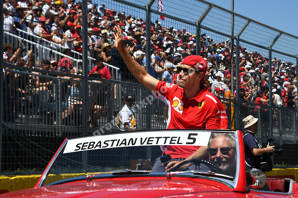 Sebastian Vettel (Ferrari) waves to the crowd in the drivers parade before the 2019 Canadian Grand Prix in Montreal. Photo: Grand Prix Photo