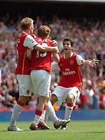 Photo: Tony Oudot. <br /> Arsenal v Fulham. Barclays Premiership. 12/08/2007. <br /> Arsenal celebrate Alexander Hlebs winning goal