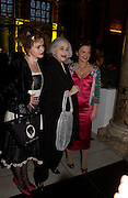 Helena Bonham-Carter, Elena Bonham-Carter and Lulu Guinness. Party to celebrate the publication of 'Put On Your Pearl Girls!' by Lulu Guinness at the V&A museum, London. 5 May 2005. ONE TIME USE ONLY - DO NOT ARCHIVE  © Copyright Photograph by Dafydd Jones 66 Stockwell Park Rd. London SW9 0DA Tel 020 7733 0108 www.dafjones.com