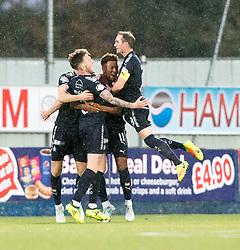 Falkirk's Jordan McGhee celebrates after scoring their goal. Falkirk 1 v 1 Dunfermline, Scottish Championship game played 4/5/2017 at The Falkirk Stadium.