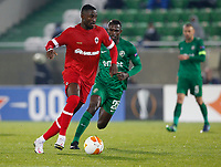 RAZGRAD, BULGARIA - OCTOBER 22: Martin Hongla of Antwerp comes forward on the ball during the UEFA Europa League Group J stage match between PFC Ludogorets Razgrad and Royal Antwerp at Ludogorets Arena on October 22, 2020 in Razgrad, Bulgaria. (Photo by Nikola Krstic/MB Media)