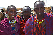 Maasai Warriors gathered in tribal village near the Olduvai Gorge, Tanzania
