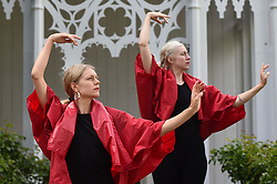 A rehearsal of Pablo Bronstein's ballet The Rose Walk is performed by classically trained dancers Rosalie Wahlfrid and Emilia Gasiorek (left) at the Jupiter Artland in West Lothian, which was commissioned for this year's Edinburgh Art Festival.