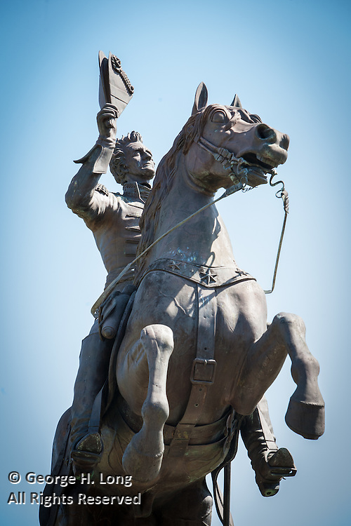 Statue of Andrew Jackson in Jackson Square; French Quarter on Palm Sunday