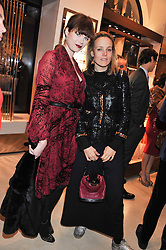 Left to right, JASMINE GUINNESS and BAY GARNETT at the Salvatore Ferragamo Old Bond Street Boutique Store Launch on 5th December 2012.