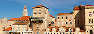 Trogir Harbour front with Medieval buildings - Croatia .<br /> <br /> Visit our MEDIEVAL PHOTO COLLECTIONS for more   photos  to download or buy as prints https://funkystock.photoshelter.com/gallery-collection/Medieval-Middle-Ages-Historic-Places-Arcaeological-Sites-Pictures-Images-of/C0000B5ZA54_WD0s