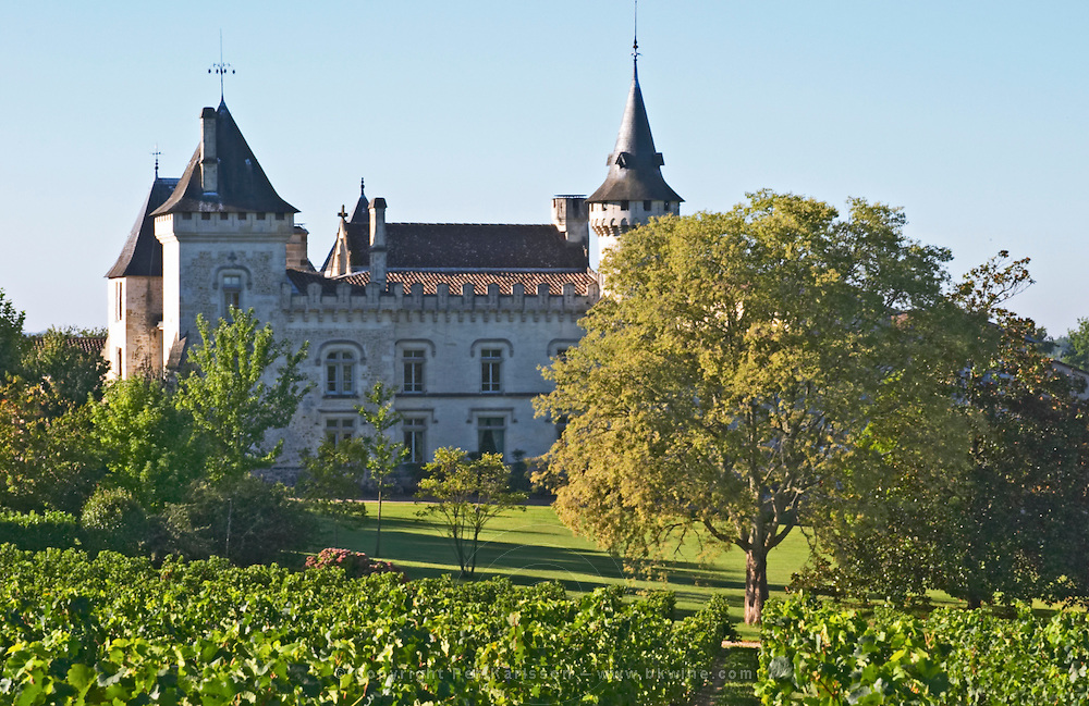 The chateau with turrets and vineyard - Chateau Carignan, Premieres Cotes de Bordeaux