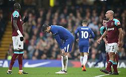 Chelsea's Alvaro Morata (centre) looking dejected during the Premier League match at Stamford Bridge, London.