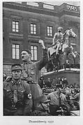Adolph Hitler (1889-1945) German dictator addressing a crowd in Brunswick in 1931.
