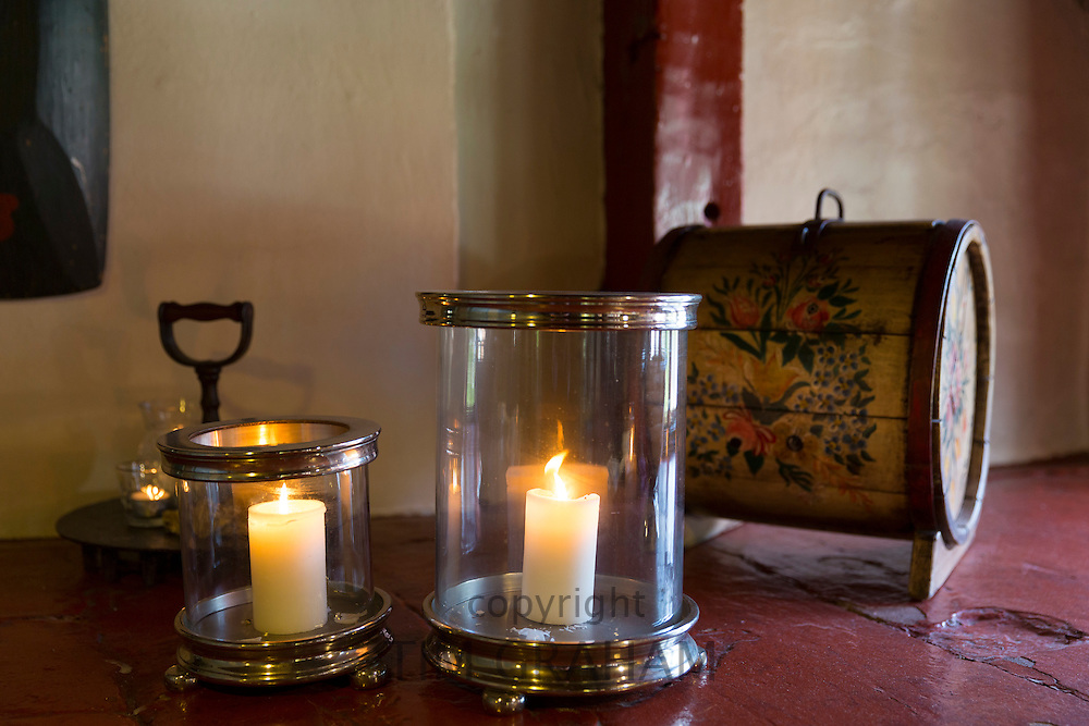 Candles at Sonderho Kro Hotel and Restaurant with quaint traditional style furniture on Fano Island in South Jutland, Denmark