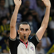 Referee's Serdar UNAL during their Turkish Basketball league Play Off Final third leg match Fenerbahce Ulker between Efes Pilsen at the Abdi Ipekci Arena in Istanbul Turkey on Tuesday 25 May 2010. Photo by Aykut AKICI/TURKPIX