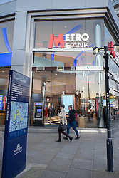 @Licensed to London News Pictures . 03/02/2015. Maidstone, Kent. View of the Metro Bank branch in Week Street. Metro Bank is due to be listed on the stock exchange later this month resulting in a possible £21m windfall for staff. Photo credit: Manu Palomeque/LNP