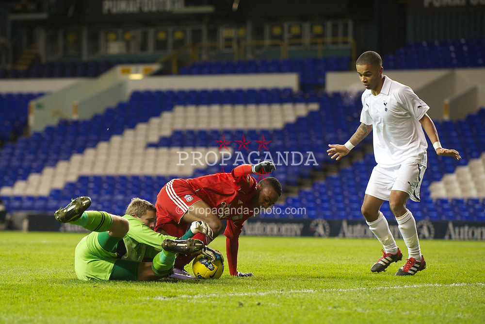 LONDON, ENGLAND - Wednesday, February 1, 2012: Liverpool's Raheem Sterling is thwarted by Tottenham Hotspur's goalkeeper Jonathan Miles during the NextGen Series Quarter-Final match at White Hart Lane. (Pic by David Rawcliffe/Propaganda)