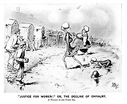 """""""Justice for Women!"""" Or, the decline of chivalry. A tragedy of the North Sea. (an Edwardian cartoon shows proud Suffragettes at the beach emerging from the sea unashamed as men ogle them and their bathing machines wait on the sand)"""